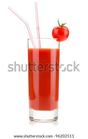 Tomato juice in a glass. Isolated on white background