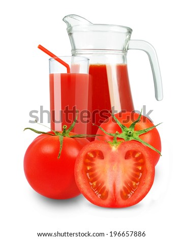 tomato juice in glass and jug on a white background
