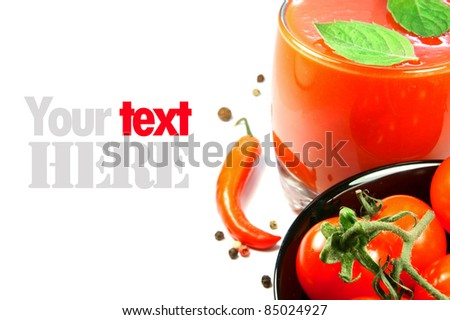 Tomato juice, tomatoes, pepper, spices, sheet. A place for your text. - stock photo