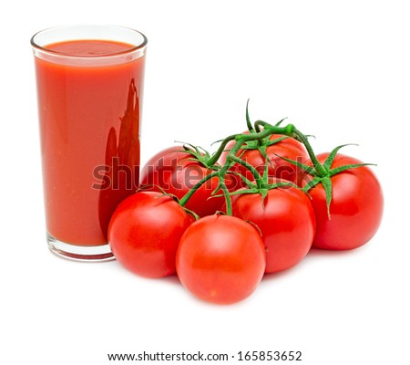 Tomato juice with branch of red tomatoes isolated on white background - stock photo