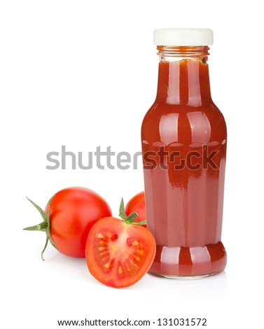Tomato ketchup bottle and ripe tomatoes. Isolated on white background - stock photo