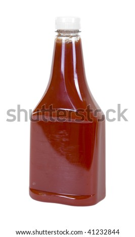 Tomato ketchup in bottle; isolated clipping path included - stock photo