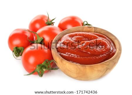 Tomato ketchup isolated on white background - stock photo