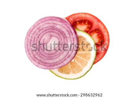 tomato lemon onion on a white background - stock photo