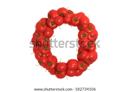 Tomato letter O on white background - stock photo