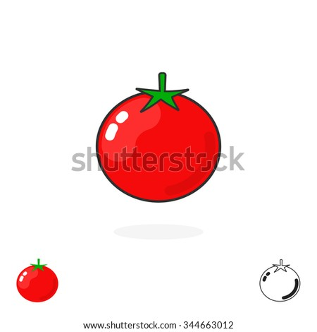Tomato logo single isolated on white background. Simple tomatoe icon flat style, fresh food, production, cartoon sign, label, trend, brand, modern design identity, outline logotype illustration stock