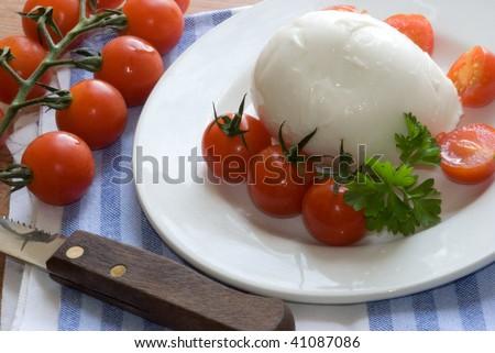 Tomato mozarella salad - stock photo