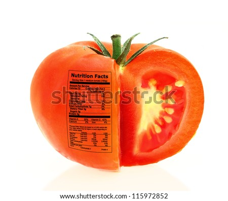 Tomato nutrition facts - stock photo