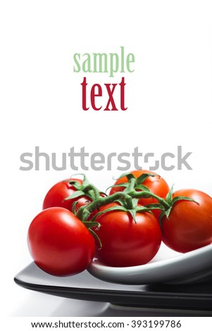 tomato on a plate with sample text