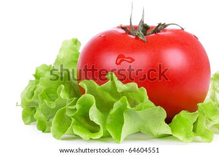 Tomato on green salad leaf, closed-up on white - stock photo