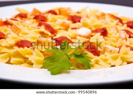 tomato pasta dish - stock photo
