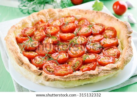 Tomato pie on white plate, close up view - stock photo