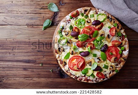 Tomato Pizza with Mushrooms and Olives - stock photo