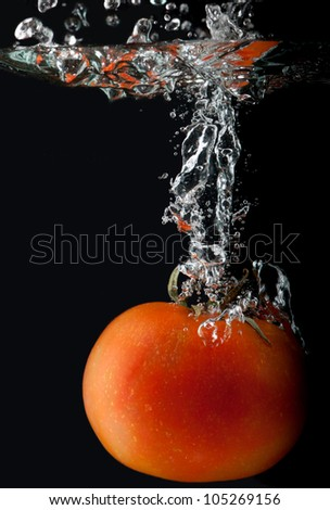 Tomato plunging in water - stock photo