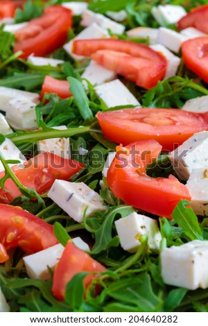 Tomato, Rucola and Goats Cheese Topping on an Italian Pizza. Green, Red and White, the Colors of Italy. Delicious and Healthy