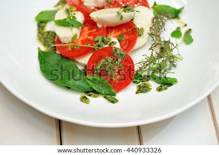 tomato salad and cheese - stock photo