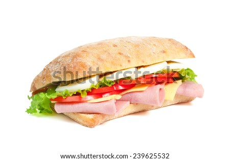 Tomato, salami and cheese Sandwich isolated on white - stock photo