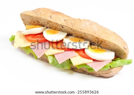 Tomato, salami and pepper sandwich isolated on white