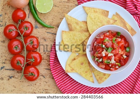 Tomato Salsa Dip with Tortilla Chips - stock photo