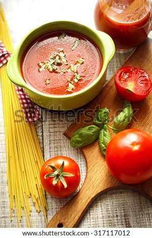 tomato sauce and spaghetti - stock photo