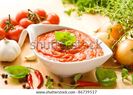 Tomato sauce in a white sauce boat with fresh ingredients, including tomatoes, herbs, garlic and spices