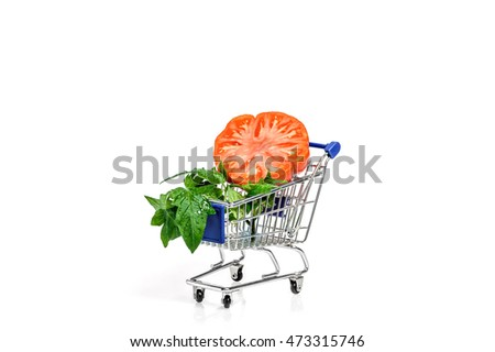 Tomato slice in shopping cart
