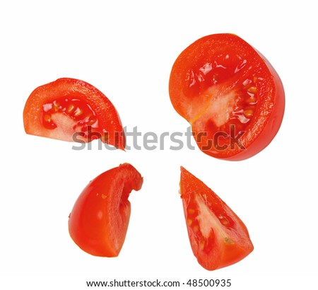 Tomato slices isolated on white - stock photo