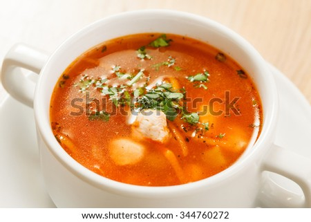 tomato soup with vegetables and meat - stock photo