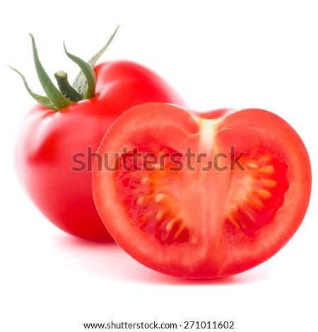 Tomato vegetable isolated on white background cutout - stock photo