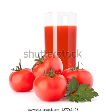 Tomato vegetable juice in glass isolated on white background cutout - stock photo