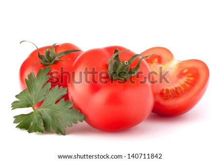 Tomato vegetables and parsley leaves still life isolated on white background cutout