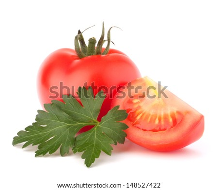 Tomato vegetables and parsley leaves still life isolated on white background cutout - stock photo