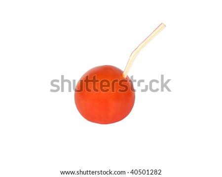 tomato with a tube on a white background - stock photo