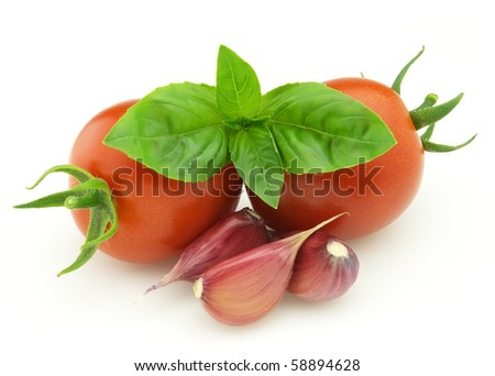 Tomato with basil and garlic