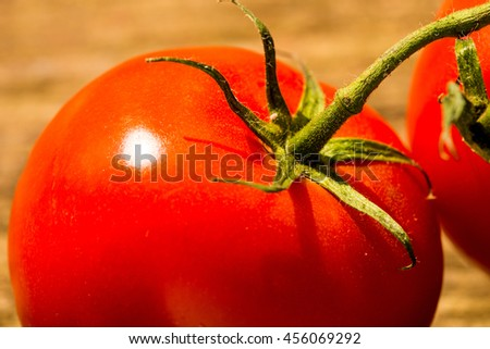 tomato with green - stock photo