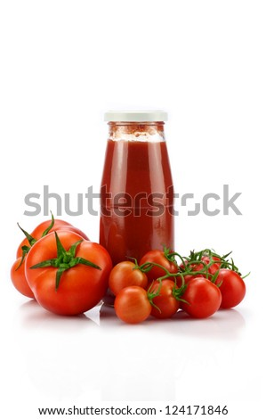 Tomatoes and sauce on white background