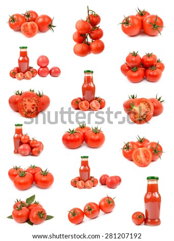 tomatoes and tomato juice - stock photo