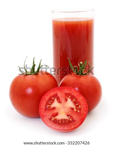 Tomatoes and tomato juice isolated on white background. - stock photo
