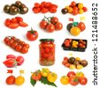 Tomatoes collection on a white background - stock photo