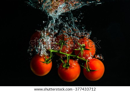 tomatoes falling into water - stock photo