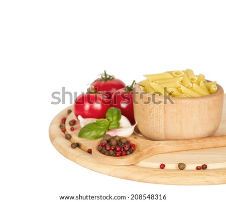 Tomatoes, garlic,spice and paste  isolated on a white background