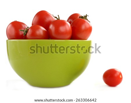 tomatoes in a ceramic plate isolated on white background - stock photo