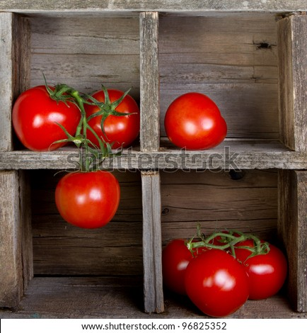 Tomatoes in a vintage wooden crate, decorative - stock photo