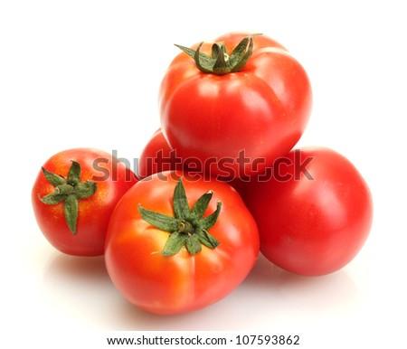 tomatoes isolated on white - stock photo