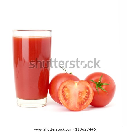 Tomatoes juice and group from tomatoes isolated
