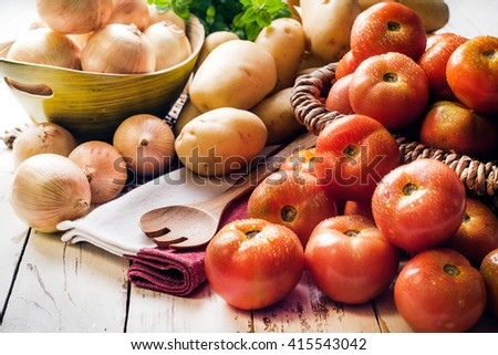 Tomatoes, onions and potatoes - stock photo