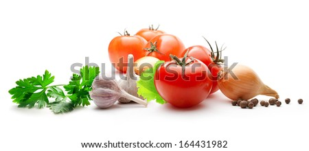 Tomatoes, onions, pepper, parsley and garlic - stock photo