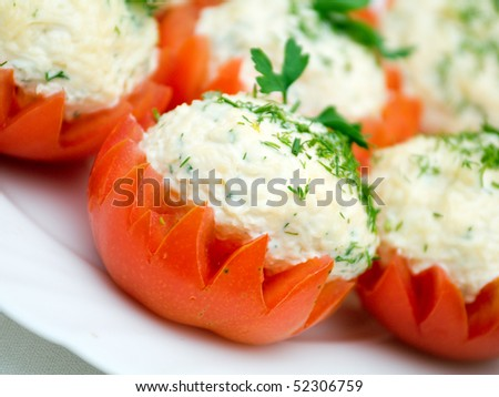 Tomatoes Stuffed with Feta. Shallow depth-of-field.