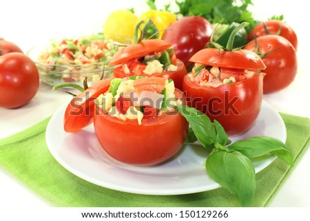 Tomatoes stuffed with fresh summer salad