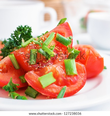 tomatoes with green onion and parsley